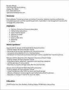 claims adjuster trainee resume template best design With claims adjuster resume template