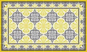 Tapis Effet Carreaux De Ciment : tapis vinyle carreaux de ciment s raphine jaune moutarde ~ Teatrodelosmanantiales.com Idées de Décoration