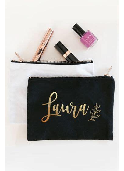 personalized leaf canvas cosmetic bag davids bridal