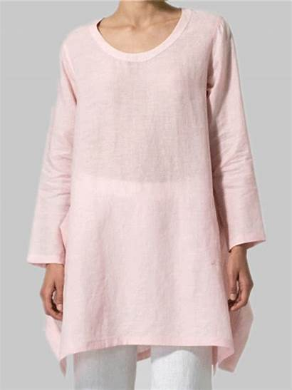 Sleeve Casual Cotton Fall Plus Pockets Dresses