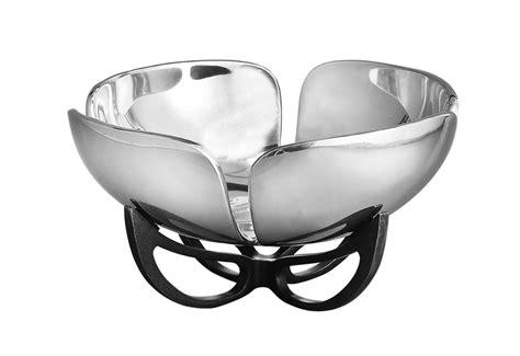 nambe anvil petal fruit bowl  cutlery