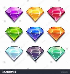 Cartoon Vector Gems Diamonds Icons Set Stock Vector ...