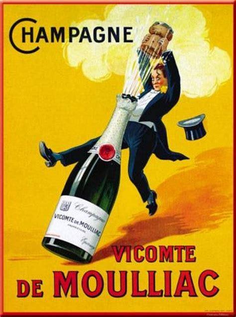 affiche cuisine chagne vicomte de moulliac vintage food drink