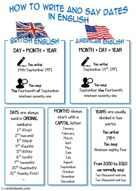 how to write and say dates in ficha interactiva