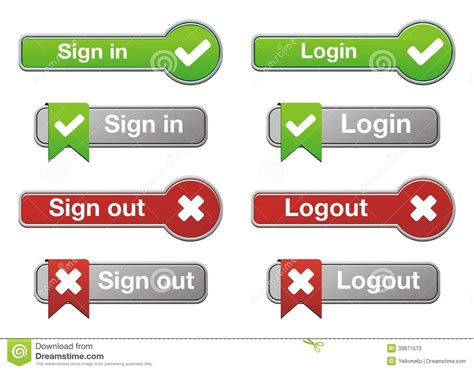 Login And Logout Buttons Stock Photos