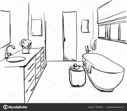 Bad Skizze Bathroom Handgezeichnete Sketch Depositphotos Stockillustration