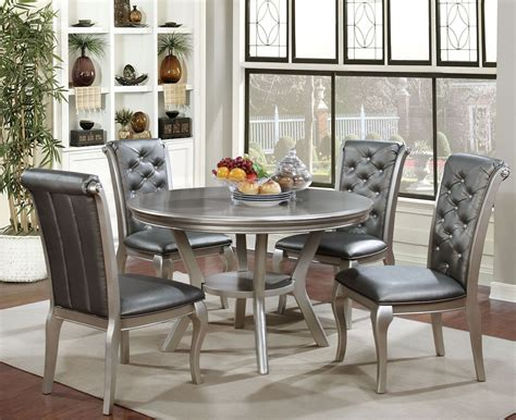 Amina Champagne Round Dining Room Set From Furniture Of