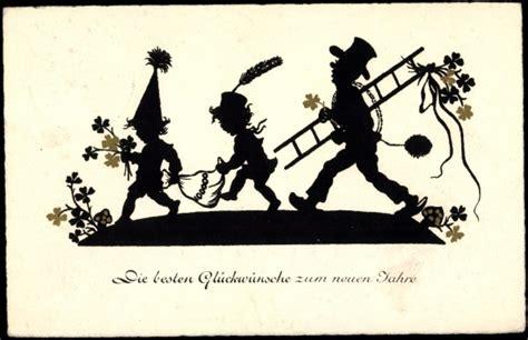 Scherenschnitt Ansichtskarte  Postkarte Glückwünsche Zum