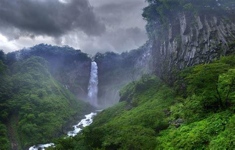 waterfall rock jungle sky clouds hd wallpaper