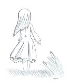 Girl Walking Away Drawing