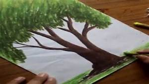 How to Draw Trees with Oil Pastel Color - YouTube