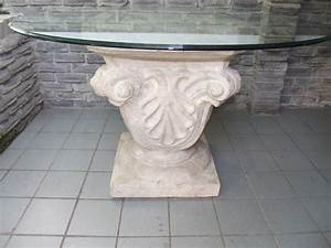 Fantastic carving stone base for round glass top dining for Stone base glass top coffee table