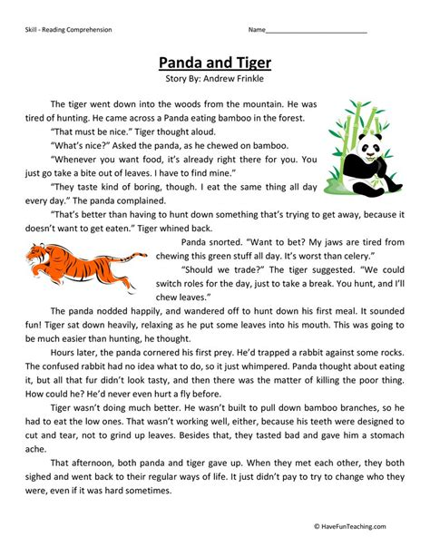 Panda And Tiger Reading Comprehension Worksheet  Have Fun Teaching