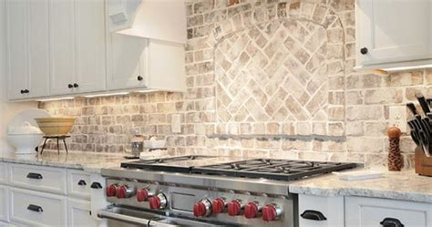 Kitchen Brick Backsplash. Kitchen with granite countertop