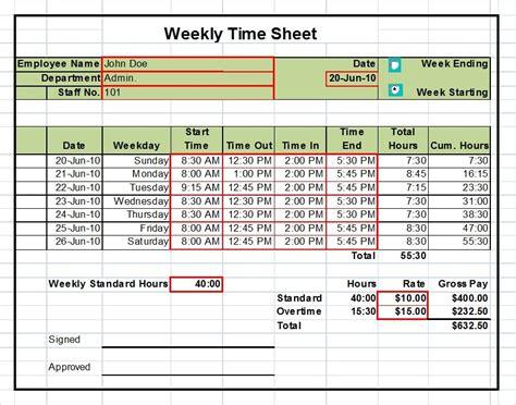 timesheet excel templates  week  weeks  monthly