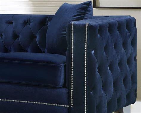 meridian furniture  reese navy velvet button tufted
