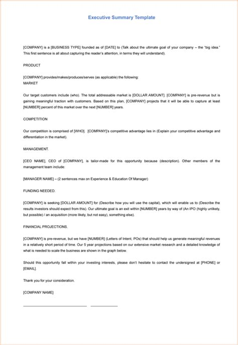 5 executive summary templates for word pdf and ppt