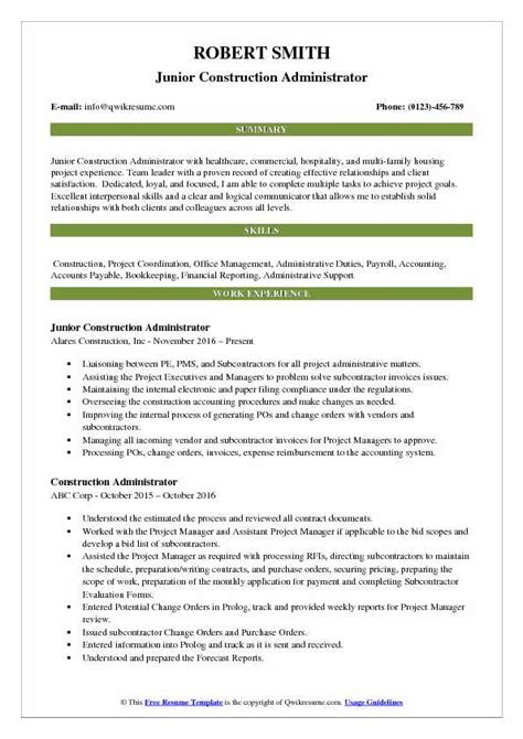Resume Build Relationships by Construction Administrator Resume Sles Qwikresume