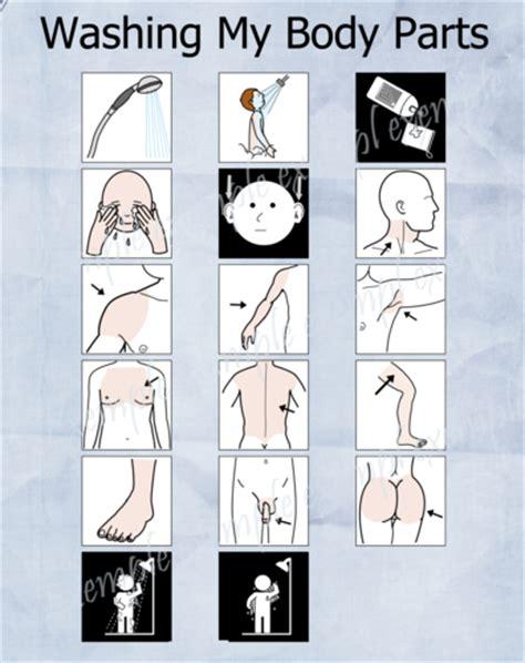 aide visuelle pecspictos comment  laver le corps