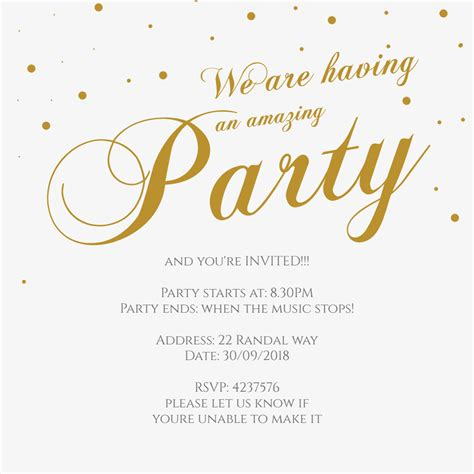 Fancy Font Party Free Printable Party Invitation