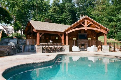 custom timber frame pool house  barn yard great country garages