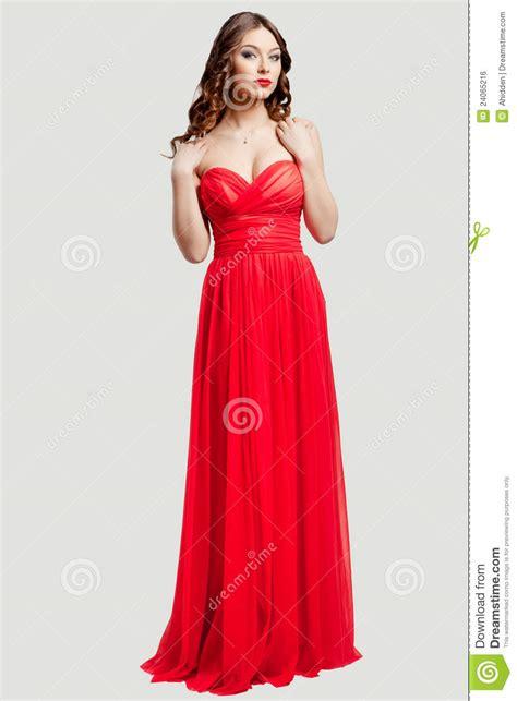 beautiful female fashion model  red dress stock photo