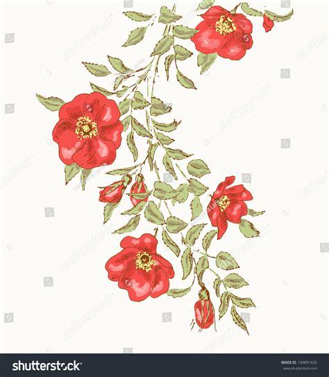 vintage flower background beautiful illustration dog stock