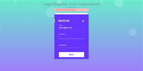 login registration form  mvc materialize design