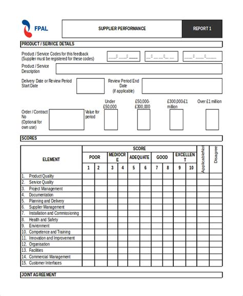 Vendor Performance Evaluation Template by Sle Supplier Evaluation Form 10 Free Documents In