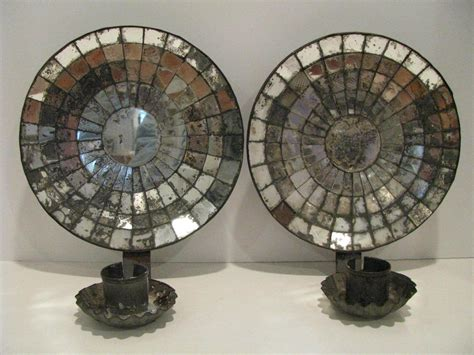 Tin Candle Sconces - pair of vintage tin mirrored candle wall sconces ebay