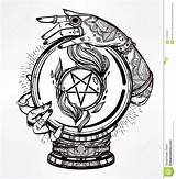 Coloring Pentacle Pentagram Crystal Ball Hands Occult Magic Psychic Sketch Illustration Template Drawn Dragon Reversed Templates sketch template