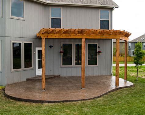 concrete patio with pergola house cedar pergola with sted concrete patio