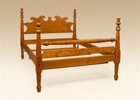 King Size Antique Style Four Poster Bed Frame Tiger Maple