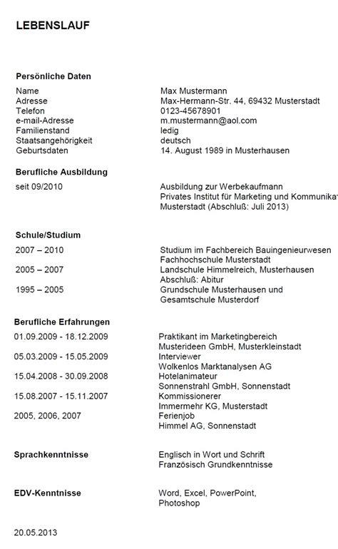 esempi  curricula  tedesco modello curriculum