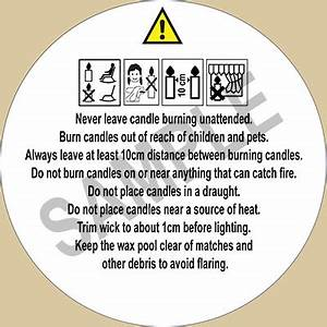 candle safety labels pictogram pack of 25 labels With candle safety labels