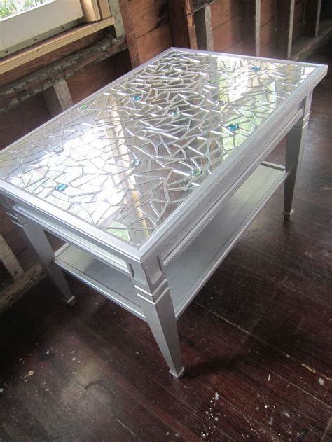 glass bead table l mosaic mirror metallic silver coffee table or side table