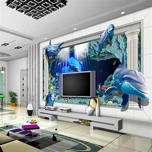 New fashion design 3D dolphin Wall mural wallpaper kids ...