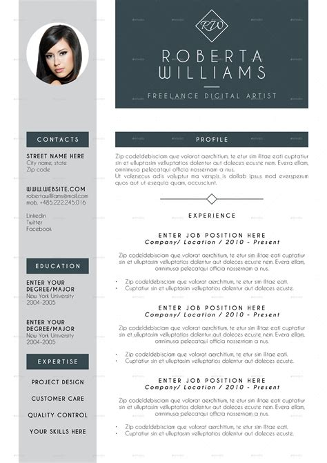 professional resume cv indesign template by