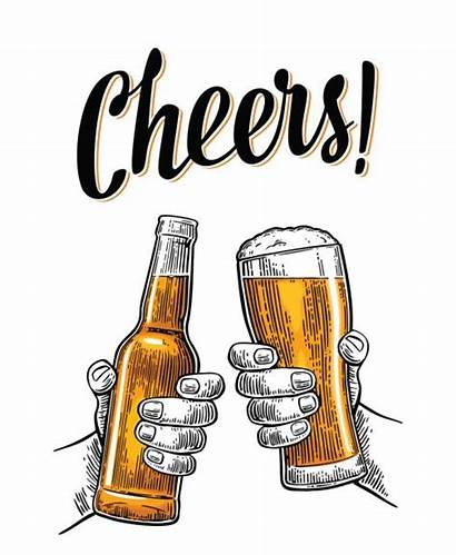 Beer Cheers Clip Vector Bottle Glasses Holding