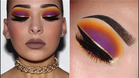purple sunset smokey eye  gold liner makeup tutorial