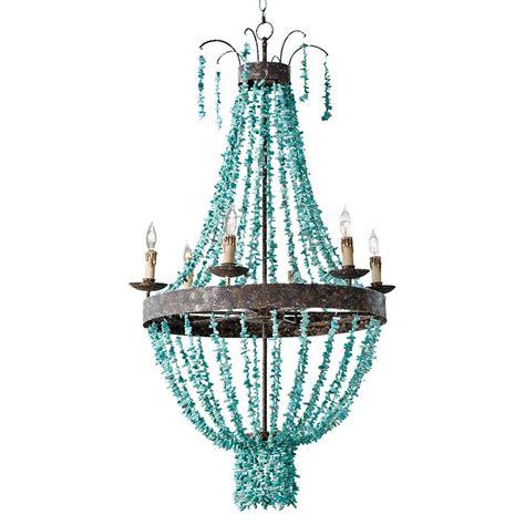 turquoise chandeliers pensacola coastal beaded turquoise metal chandelier