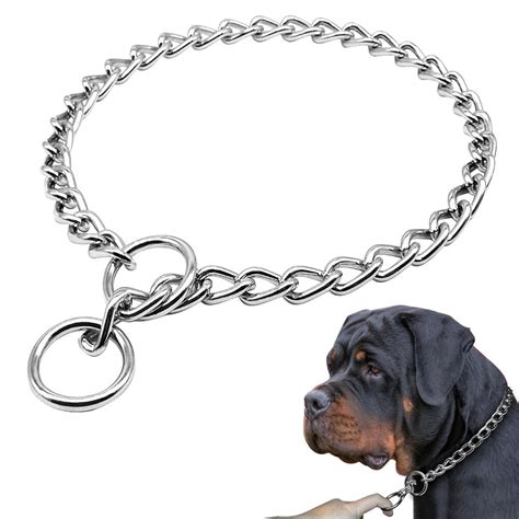 chrome p chock metal chain training dog collars stainless
