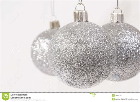 silver glitter christmas ornaments stock photos image