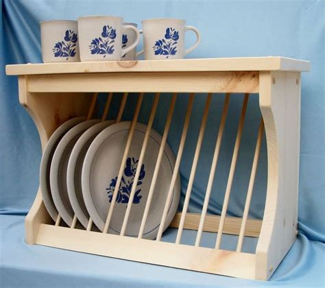 plate rack wood wooden wall mount  counter  wooden