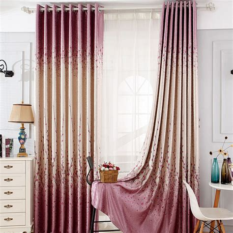 purple patterned curtains country purple jacquard blackout ready made floral curtains