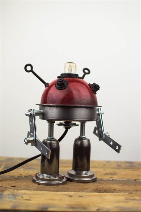 robot table lamp metal recycle bedside lamp iron