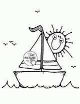 Coloring Sailboat Pages Boat Transportation Printables Wuppsy Boats Colouring Little Cartoon Ship Printable Sailboats Books Tags Find Template sketch template