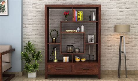 buy morris display unit walnut finish   india