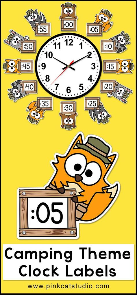 forest animals camping theme telling time clock labels