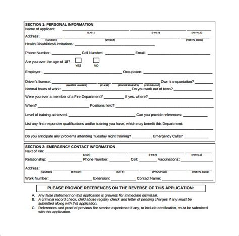 sample fire service application form